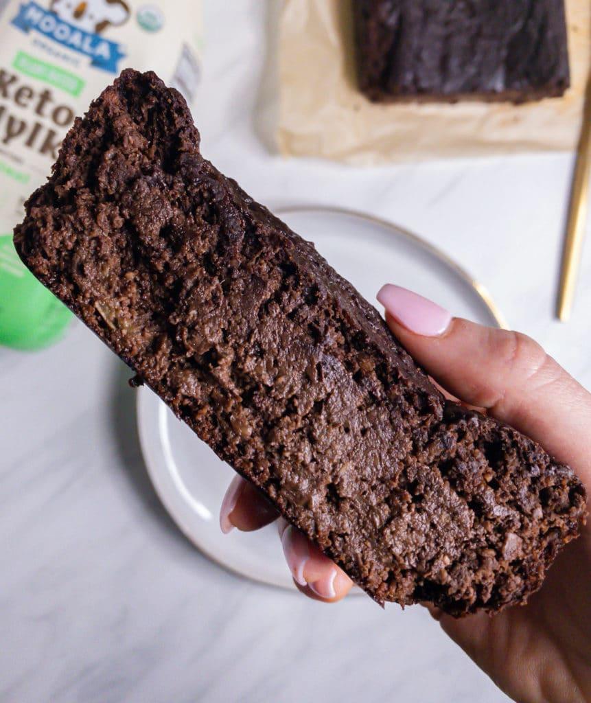 Chocolate banana bread slice closeup