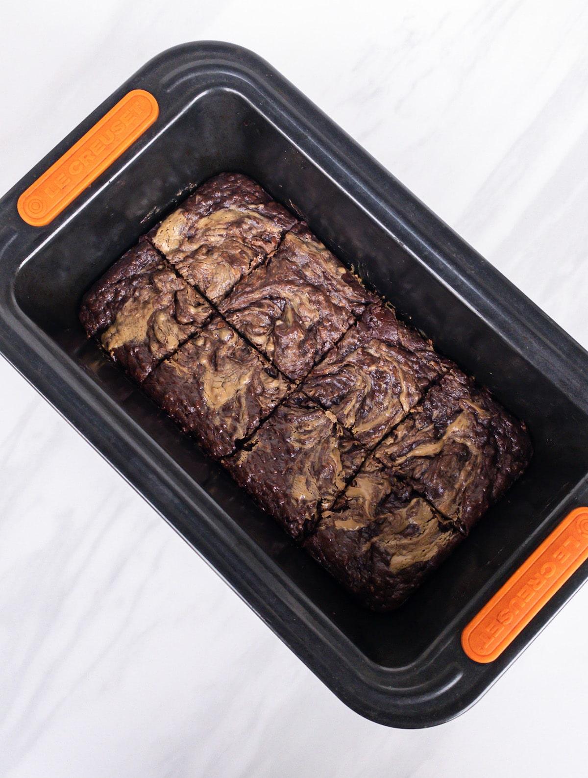 8 sliced brownies in a pan