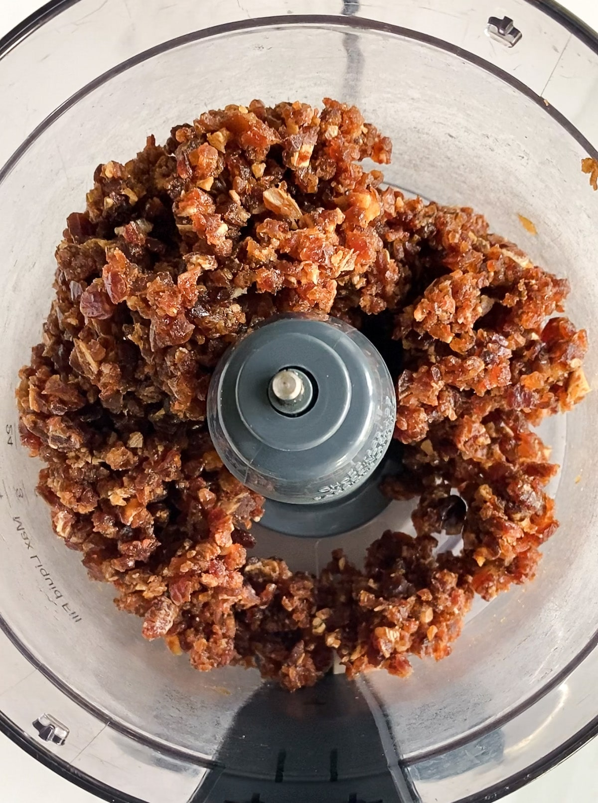 Dates processed in a food processor